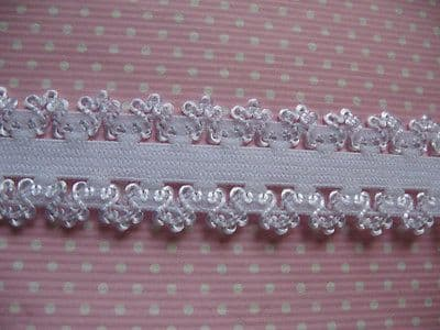 2 YARD WHITE FRILLY EDGE ELASTIC SIZE 3/4 PERFECT FOR HEADBANDS FOE HAIR BOWS