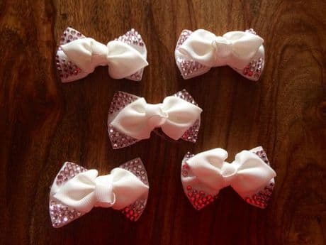 5  X 2.5 INCH  WHITE + PINK DIAMONTE BOWS PERFECT FOR HEADBANDS