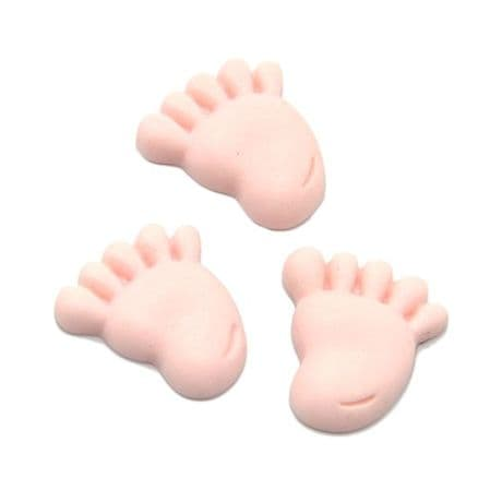 5 x 20MM PINK BABY FEET FLAT BACK RESIN BABY SHOWER HEADBANDS BOWS CARD MAKING