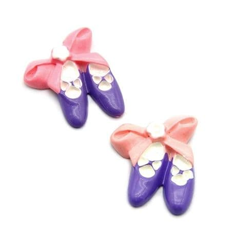 5 x 20mm PURPLE BALLET SHOES FLAT BACK RESIN HEADBAND BOWS CARD MAKING PLAQUE