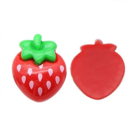 5 x 20MM RED STRAWBERRY FLAT BACK RESIN HEADBANDS BOWS CARD MAKING