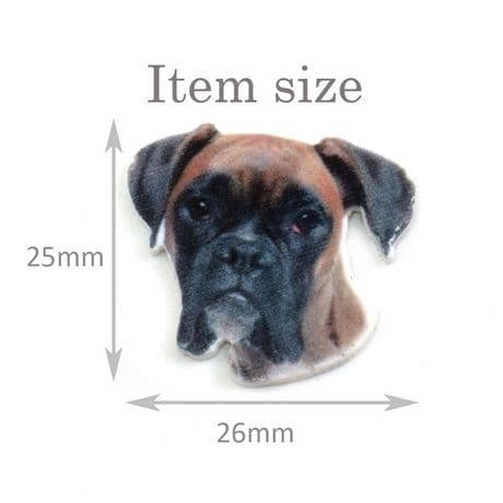 5 x 26MM BOXER DOG LASER CUT FLAT BACK RESIN BOWS CARD MAKING PLAQUES