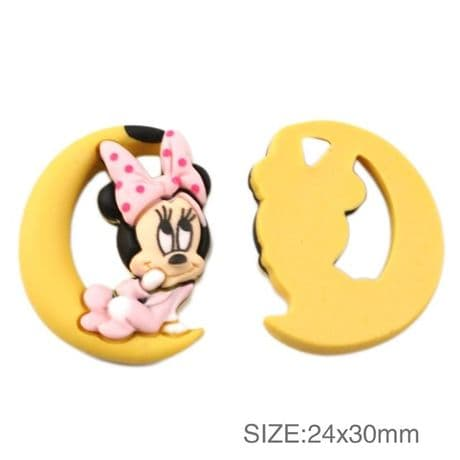 5 x 30mm MINNIE MOUSE FLAT BACK RESIN HEADBANDS HAIR BOWS CARD MAKING CRAFTS