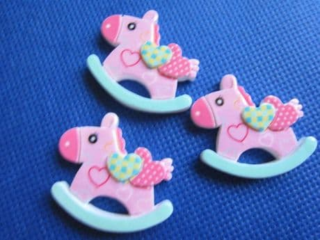 5 X 30mm PINK ROCKING HORSE FLAT BACK RESIN HEADBANDS BOWS HAIR CLIPS CARD MAKING SALE