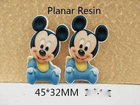 5 x 32mm BABY MICKEY MOUSE LASER CUT FLAT BACK RESIN EMBELLISHMENT HEADBANDS BOWS CARD MAKING
