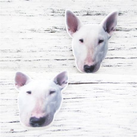 5 x 34MM BULL TERRIER DOG LASER CUT FLAT BACK RESIN BOWS CARD MAKING PLAQUES