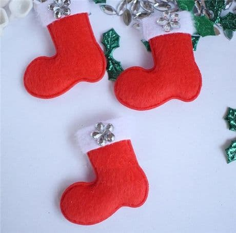 5 x 37mm SANTA BOOT STOCKING CHRISTMAS XMAS PADDED APPLIQUE BOWS CARD MAKING