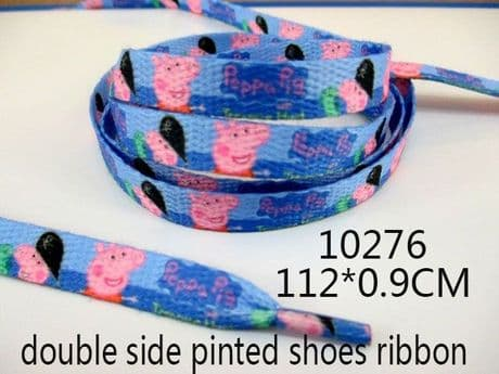 A PAIR OF PEPPA PIG DOUBLE SIDED PRINTED SHOE LACES LOOK BARGAIN