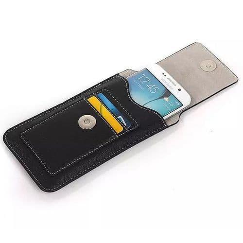 Étui Housse Ceinture Cuir pour Mobile 5,1'' Smartphone Samsung HTC LG BK