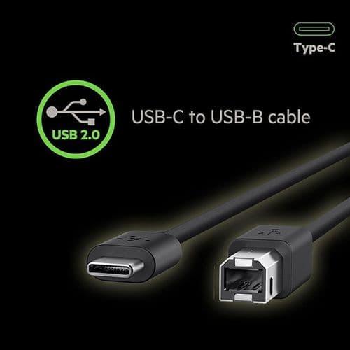 1.8m USB Type-C Câble Imprimante USB-C vers USB-B Scanner Mâle vers Mâle