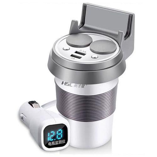 12-24V Double USB Chargeur De Voiture Téléphone Batterie Affichage Volt Tension