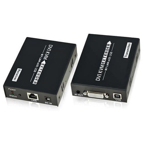 120M Kvm Dvi Extendeur 1080P Usb Ir Support Souris Clavier Clavier Cat5 / 6 Utp