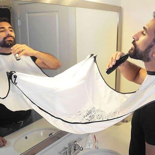 120X80Cm Tablier Rasage À Ventouse Pour Coupe Barbe Salle De Bain Tissu En Nylon