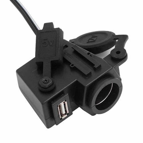 12V-24V 2.1A Port USB Chargeur Batterie Étanche Prise Allume-Cigare Pour Moto