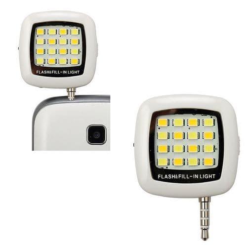 16 LED Flash Torche Photo Mini jack 3.5mm pour Smartphone Tablette  iPad WH