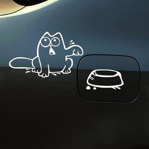 20x9,5cm Sticker Personnalisation Voiture Auto Film Autocollant Chat Blanc