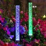 2Pcs  Tube Lumière Solaire Jardin Lumière Lampe Extérieur Couleur Changeant Rvb