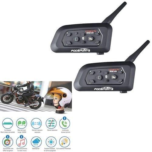 2X Intercom Casque Moto Bluetooth Intercom 1200M Intercommunication V6 Pro