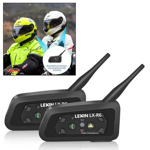 2X Lexin R6 Moto Bluetooth Casque Intercom Intercommunicateur Sans Fil