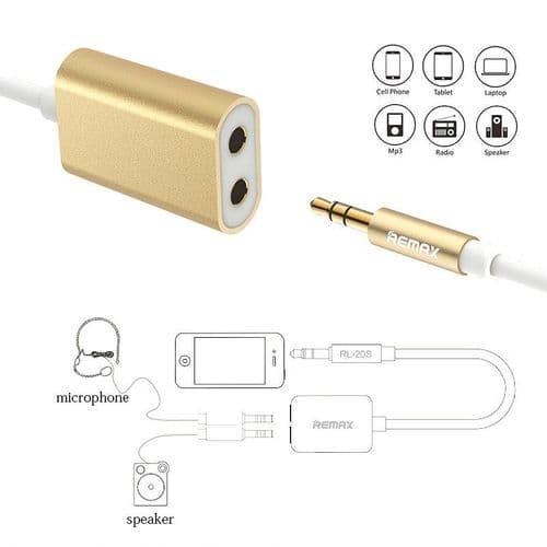 3,5mm Mini-Jack Mâle A 2 Femelle Câble Audio 3 Points Micro 25cm GD