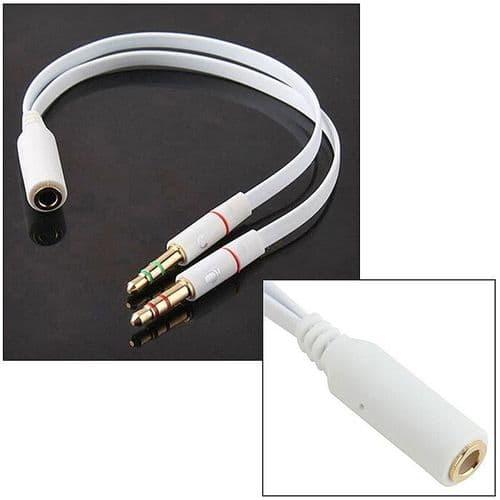 3,5mm Ecouteur Microphone Mâle à Mini-Jack Femelle Adaptateur Câble Connecteur WH