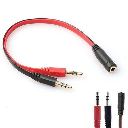 3,5mm Ecouteur Microphone Mâle à Mini-Jack Femelle Adaptateur Connecteur Câble RD