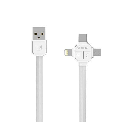 3 en 1 Câble 8 broches iOS Micro USB USB-C Type-C Data Charge 100cm WH