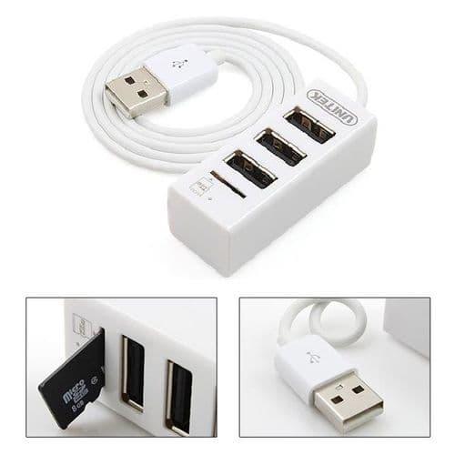 3 Ports USB 2.0 High Speed USB HUB Lecteur de Carte Mémoire micro SD TF Blanc