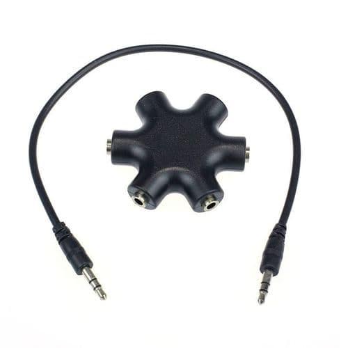 3.5mm Adaptateur Mini-Jack Pour Ecouteurs Casque Audio 1 Male à 5 Femelle Câble