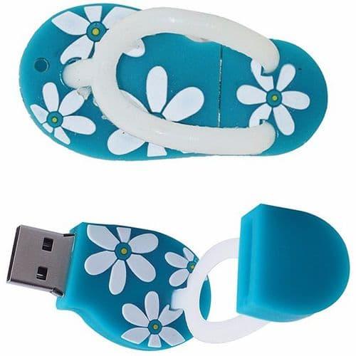 32Go USB 2.0 Clé USB Clef Mémoire Flash Data Stockage Savatte Sandale Bleu