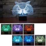 3D Illusion Décoratif Tactile Lampe Lumière LED Décoration Chouette Hibou
