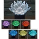 3D Illusion Décoratif Tactile Lampe Lumière LED Décoration Fleur de Lotus