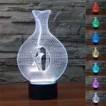 3D Illusion Décoratif Tactile Lampe Lumière LED Décoration Vase Oiseau