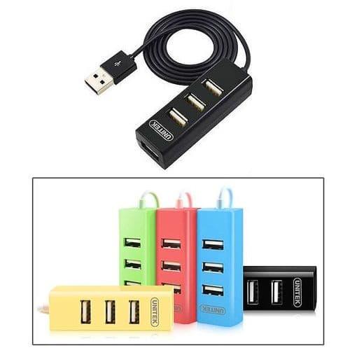 4 Ports USB 2.0 High Speed USB HUB Taille Compact Noir