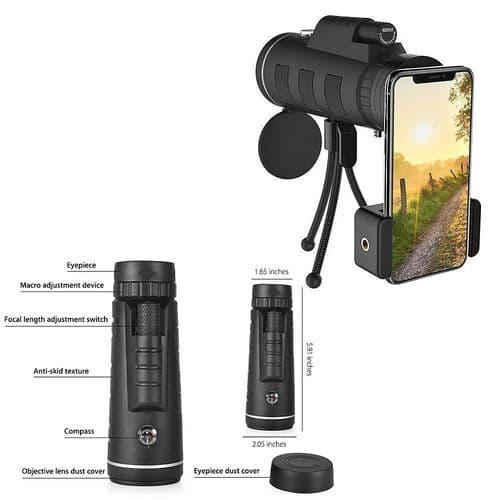 40X60 Téléobjectif Monoculaire Avec Trépied Support Clip Portable Smartphone