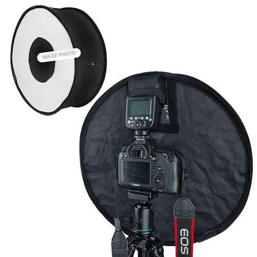 45cm Diffuseur Photo Ronde Circulaire Pliable pour Speedlite Cobra Flash Sabot