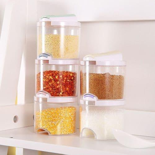 5pcs assaisonnement bocal boîte transparent cuisine récipient condiments épices