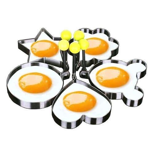 5pcs Moule En Acier Inoxydable pour oeuf Pancake Ustensile de cuisine
