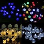 6M 30 LED Lampe Solaire Boule Cristal Couleur Guirlande Éclairage Luminaire