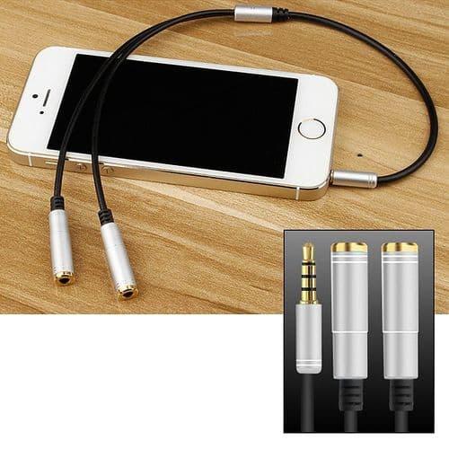 Adaptateur 3.5mm Mini-Jack Câble 1 Mâle à 2 Femelle Audio 4 Points Argent