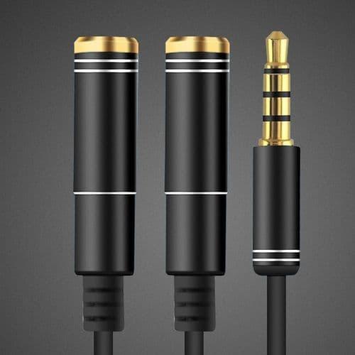 Adaptateur 3.5mm Mini-Jack Câble Diviseur 1 Mâle à 2 Femelle Audio 4 Points Noir