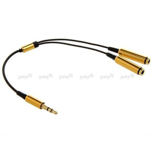 Adaptateur Câble Doubleur Répartiteur Ecouteurs Mini-jack 3.5mm Mâle à 2 Femelle