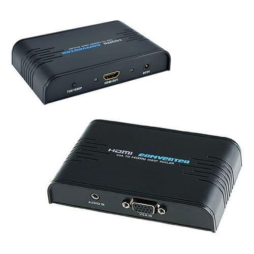 Adaptateur Convertisseur VGA Audio Jack 3,5mm vers HDMI 1080P Up Scale