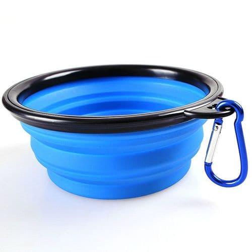 Bol Assiette Pliable pour Eau Nourritures Chien Chat Camping Voyage Bleu