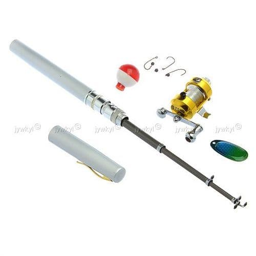 Canne à Pêche Télescopique forme Stylo Portable 1 Mètre Moulinet Bobine Fil