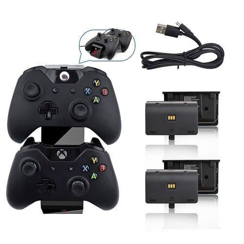 Dual Dock Chargeur Station pour Manette Xbox One Joy-stick 2 Batteries