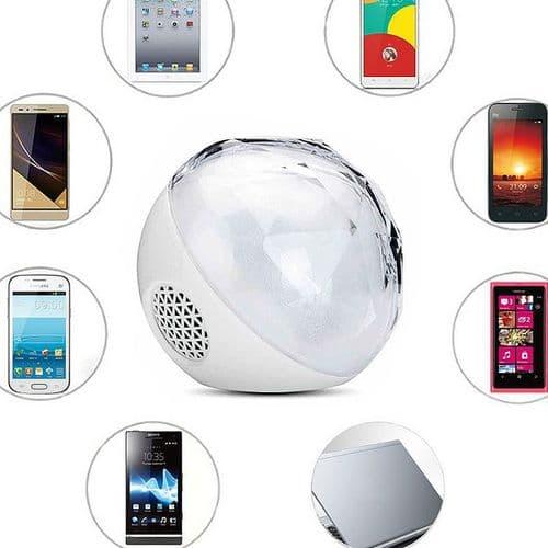 Enceinte Bluetooth Lecteur de Carte Lampe Boule Couleur LED Télécommande