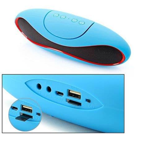 Enceinte sans fil Bluetooth Portable Radio FM USB Lecteur de carte LED Bleu
