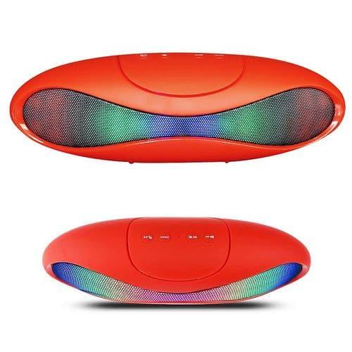 Enceinte sans fil Bluetooth Portable Radio FM USB Lecteur de carte LED Rouge