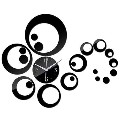 Grand Horloge Quartz Murale Acrylique Miroir Créative Design Décoration Noir